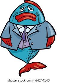 Illustration of big fish businessman