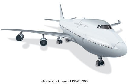 illustration of big passenger airplane in airport