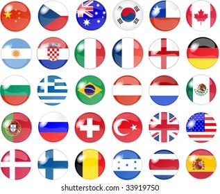 illustration of a big set of national flag buttons