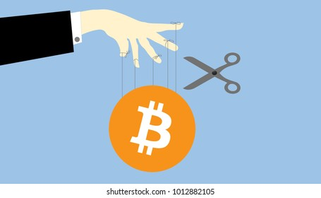 Illustration of bitcoin ponzi scheme. Crypto currency manipulation concept. Hand hold strings for manipulating bitcoins market share and price.
