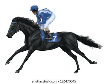 illustration of a black race horse. digital illustration.