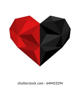 Illustration of black and red origami heart isolated on white background