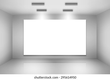 Illustration of blank billboard on empty wall with lights