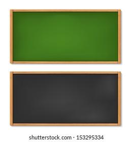 Illustration of blank black and green chalkboard (raster version)