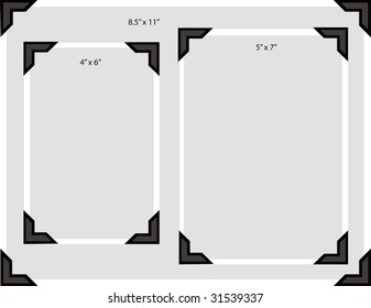 Illustration of a blank photo in three typical sizes with old-fashioned photo corners