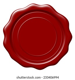 Illustration of blank wax seal on white background