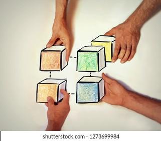 illustration of a blockchain Network, interoperability