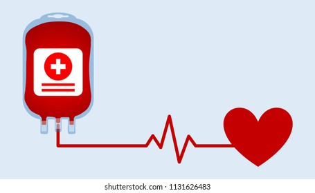 Illustration of blood donation concept with heart and pulse