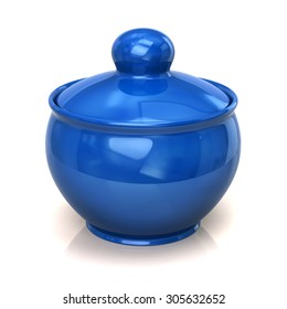 Illustration of blue clay pot on white background