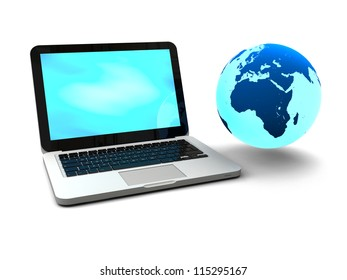Illustration of blue Earth floating next to laptop computer, concept of world wide web and portability, isolated on white background. Elements of this image furnished by NASA