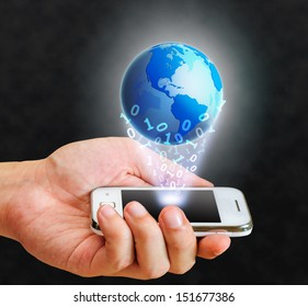 illustration blue globe floating from smart phone and binary number