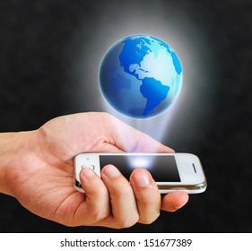 illustration blue globe floating from smart phone