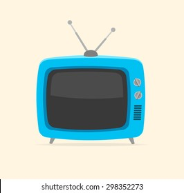 illustration blue retro tv and tiny antenna isolated on white background. Flat Design