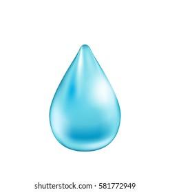 Illustration Blue Shiny Water Drop Isolated on White Background -