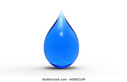 Illustration of Blue Water Drop 3D Rendering on a white Background