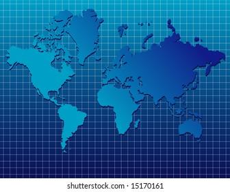 illustration of blue world map on gridded background.
