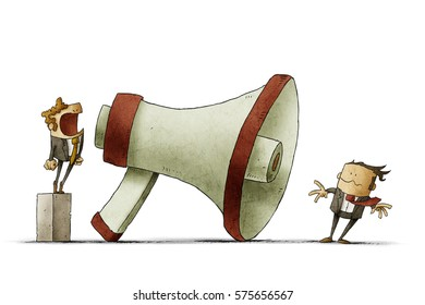 illustration of boss shouting at businessman through a big megaphone so loudly his hair being blown by strong wind. isolated, white background.