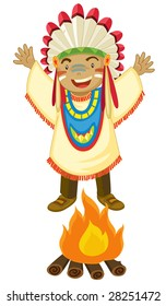 an illustration of a boy dressed up as an american indian