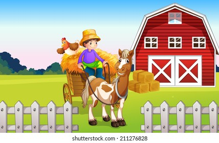 Illustration of a boy at the farm