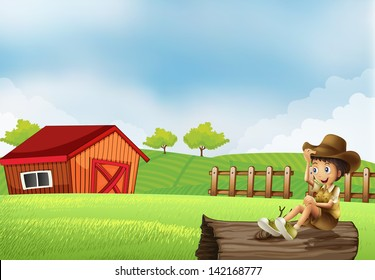 Illustration of a boy at the farm sitting in the wood with a wooden house