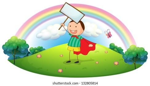 Illustration of a boy holding an empty signboard on a white background