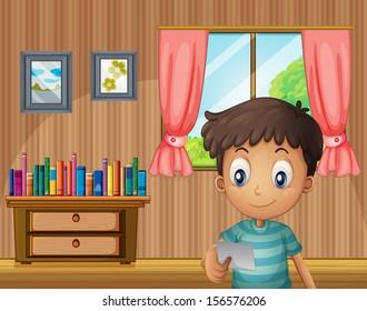 Illustration of a boy reading a small paper inside the house