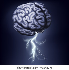 Illustration of a brain with lightning coming out of it. Concept for a brain storm