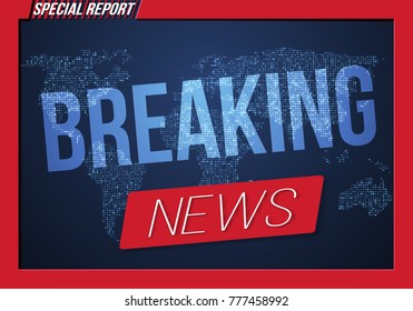 Illustration of Breaking News Banner on Bright Earth Glowing Globe Background. TV News Opener. Broadcast Design Layout