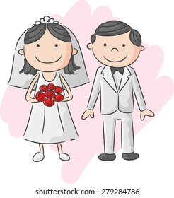 Illustration of bride and groom