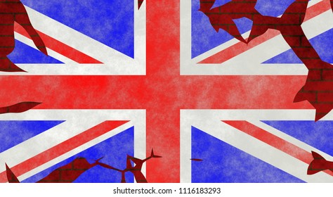 Illustration of a British Flag, imitating of painting on the old wall with cracks