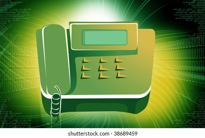 Illustration of brown coloured telephone with display