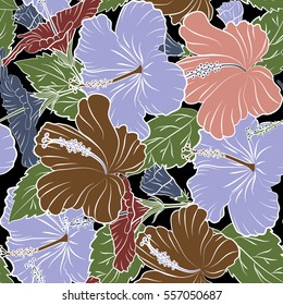 Illustration in brown and pink colors on a black background. Seamless tropical flower, hibiscus pattern.