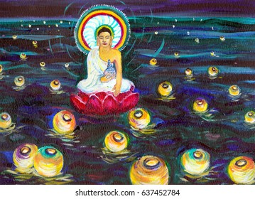 An illustration of a Buddha figure at night, seated on a red lotus, floating on the sea. The Buddha is gold in color with a white robe and halo. The sea is covered with paper lantern lights,