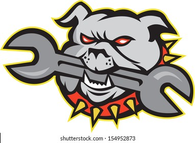 Illustration of an bulldog dog mongrel head mascot biting a spanner wrench tool facing front on white background done in retro style.