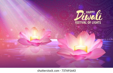 illustration of burning candle in lotus flowers. Happy Diwali Holiday background. Festival of lights greeting card