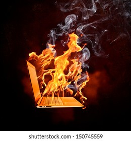 Illustration of burning laptop in fire flames