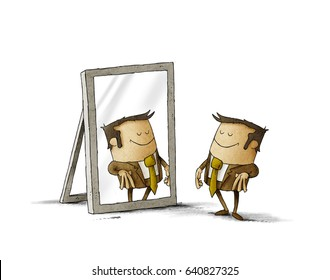 Illustration of business man see himself being successful in a mirror. isolated, white background.