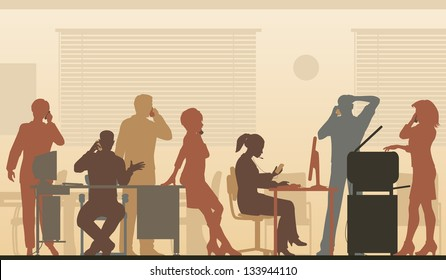 Illustration of business people in an office all talking on cellphones