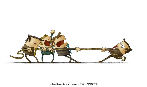 Illustration of business people pulling a rope against their boss. isolated, white background.