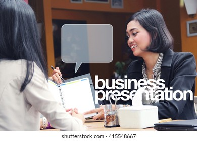 Illustration of business presentation - professional women meeting in a cafe