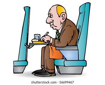 illustration of a businessman eat in plane