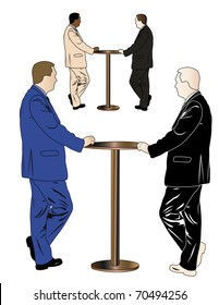 illustration of businessman stands near the table. The image of a man has four colour versions