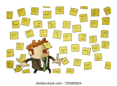 illustration of businessman with wall full of reminder notes, concept of a lot of work. isolated, white background.