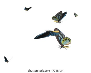 Illustration of a butterflyswarm, ray-traced image