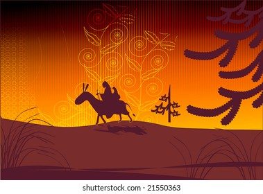 Illustration of Camels are  on the move with riders