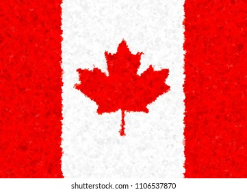 Illustration of a Canadian flag with a blossom pattern
