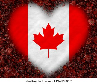 Illustration of a Canadian Flag with a heart symbol