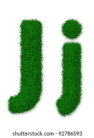 Illustration of capital and lowercase letter J made of grass