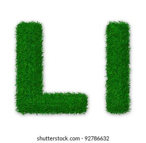 Illustration of capital and lowercase letter L made of grass
