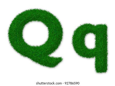 Illustration of capital and lowercase letter Q made of grass